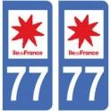 77 Seine et Marne autocollant plaque sticker auto département