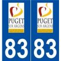 83 Puget-sur-Argens logo autocollant plaque stickers ville