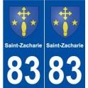 83 Saint-Zacharie blason autocollant plaque stickers ville