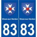 83 Vinon-sur-Verdon coat of arms sticker plate stickers city