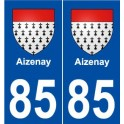 85 Aizenay coat of arms sticker plate stickers city