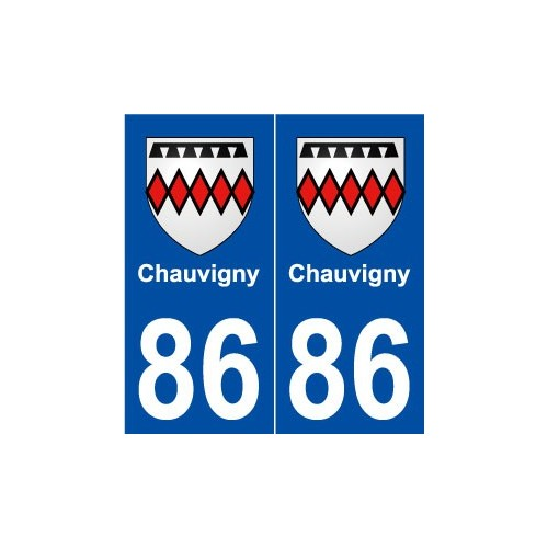 86 chauvigny blason autocollant plaque immatriculation stickers ville. Black Bedroom Furniture Sets. Home Design Ideas