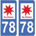 78 Yvelines autocollant plaque