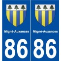 86 Migné-Auxances blason autocollant plaque stickers ville