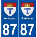 87 Ambazac blason autocollant plaque stickers ville