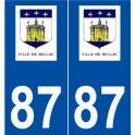 87 Bellac logo autocollant plaque stickers ville