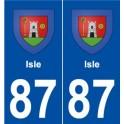 87 Isle blason autocollant plaque stickers ville