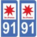 91 Essonne aufkleber platte