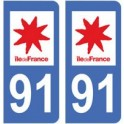 91 Essonne autocollant plaque