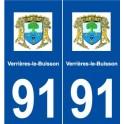 91 Verrières-le-Buisson logo autocollant plaque stickers ville