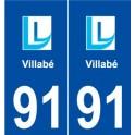 91 Villabé logo autocollant plaque stickers ville