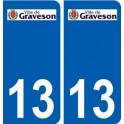 13 Graveson logo ville autocollant plaque sticker