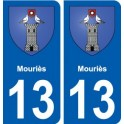 13 Mouriès coat of arms, city sticker, plate sticker