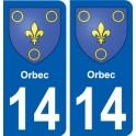 14 Orbec blason ville autocollant plaque sticker