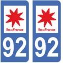 92 Hauts de Seine autocollant plaque