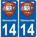 14 Démouville blason ville autocollant plaque sticker