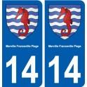 14 Merville-Franceville-Plage blason ville autocollant plaque sticker