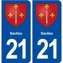 21 Saulieu coat of arms sticker plate stickers city