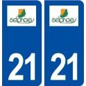 21 Selongey logo ville autocollant plaque immatriculation département