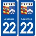 22 Louannec blason ville autocollant plaque sticker