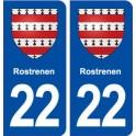 22 Rostrenen blason ville autocollant plaque sticker