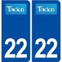 22 Taden logo ville autocollant plaque immatriculation département