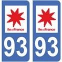 93 Seine Saint Denis autocollant plaque
