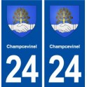 24 Champcevinel coat of arms sticker plate sticker department