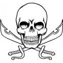 Autocollant tête de mort skull sticker sabre épée logo 4