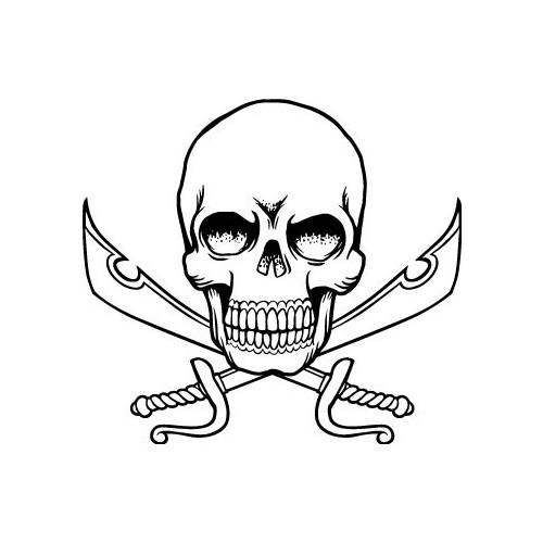 Autocollant t te de mort skull sticker sabre p e - Dessin de sabre ...