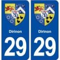 29 Dirinon blason autocollant plaque stickers ville