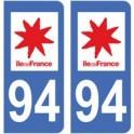 94 Val de Marne autocollant plaque immatriculation auto sticker département ile France
