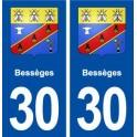 30 Bessèges coat of arms, city sticker, plate sticker
