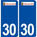 30 Remoulins logo city sticker, plate sticker