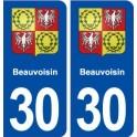 30 Beauvoisin blason ville autocollant plaque immatriculation département