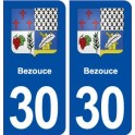 30 Bezouce coat of arms, city sticker, plate sticker