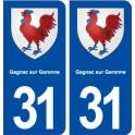 31 Gagnac on Garonne coat of arms, city sticker, plate sticker