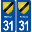31 Nailloux blason ville autocollant plaque immatriculation département