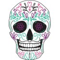 Tête mort skull couleur autocollant sticker adhesif