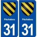 31 Péchabou blason ville autocollant plaque stickers