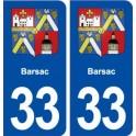 33 Barsac blason ville autocollant plaque stickers