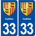 33 Cadillac coat of arms, city sticker, plate sticker