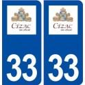 33 Cézac logo ville autocollant plaque stickers