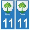 11 Fleury ville autocollant plaque