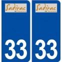 33 Sadirac logo ville autocollant plaque stickers