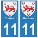 11 Gruissan ville autocollant plaque
