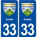 33 Ambès blason ville autocollant plaque stickers