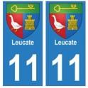 11 Leucate ville autocollant plaque