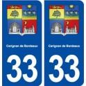 33 Carignan de Bordeaux coat of arms, city sticker, plate sticker