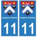 11 Lézignan-Corbières ville autocollant plaque